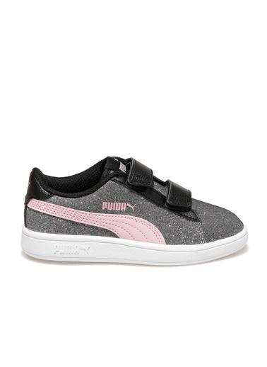 Puma Smash V2 Glitz Glam Kız Çocuk Koşu Ayakkabısı Gri